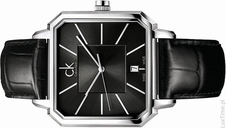 czarny, skórzany zegarek Calvin Klein